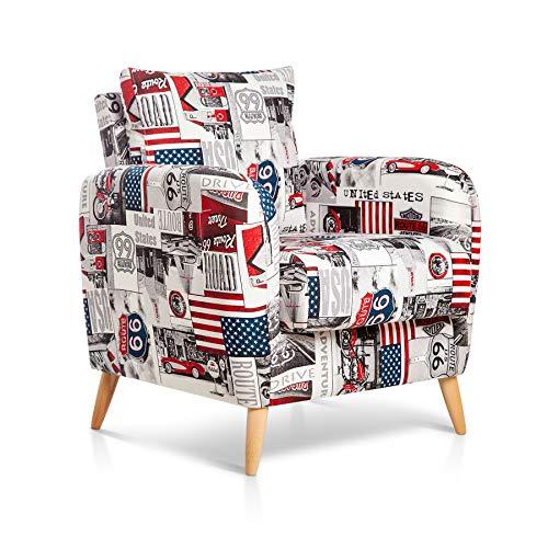 SuenosZzz- CIES Sillon butaca de Dormitorio Sillón tapizado Tela Estampada EEUU. Silla Comedor, Sillones de salón