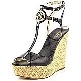 Michael Michael Kors Keely Wedge Women Open Toe Patent Leather Wedge Sandal