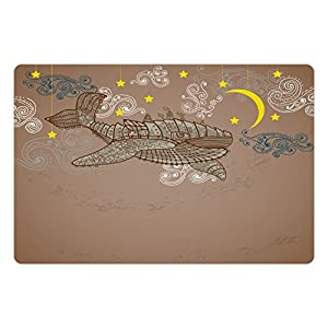 Ambesonne Whale Pet Mat for Food and Water, Steampunk Whale Flying in The Air with Moons and Stars Hand Drawing, Rectangle Non-Slip Rubber Mat for Dogs and Cats, Brown and White