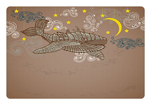 Ambesonne Whale Pet Mat for Food and Water, Steampunk Whale Flying in The Air with Moons and Stars Artistic Hand Drawing, Rectangle Non-Slip Rubber Mat for Dogs and Cats, Brown and White