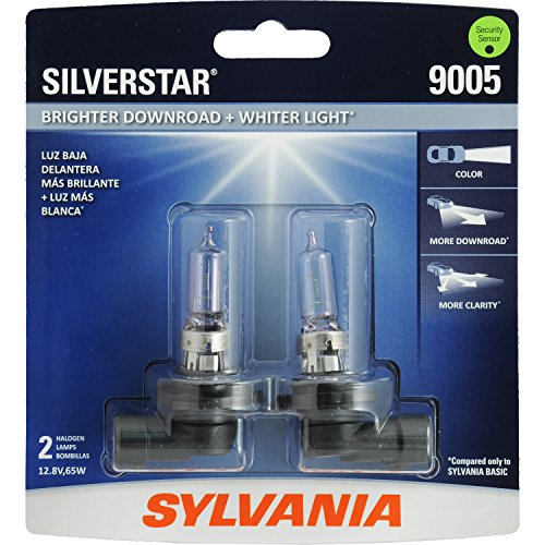 SYLVANIA - 9005 SilverStar - High Performance Halogen Headlight Bulb, High Beam, Low Beam and Fog Replacement Bulb, Brighter Downroad with Whiter Light (Contains 2 - Nissan Replacement 1996 300zx