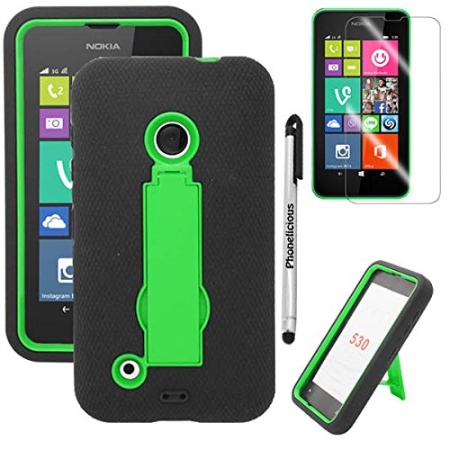 IA LUMIA 530 (Cricket & Tmobile & Metro Pcs) Heavy Duty Rugged Impact Armor Hybrid Kickstand Case Phone Dynamic Cover Tuff + Premium Screen Protector Combo & Phonelicious Stylus Pen (Green Kickstand) ()