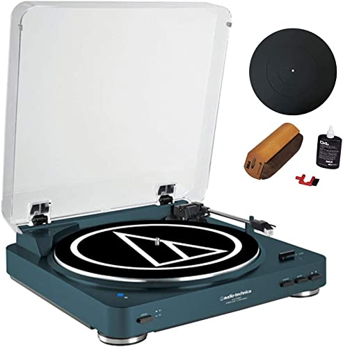 Audio-Technica Fully Automatic Bluetooth Wireless Belt-Drive Turntable LE Navy AT-LP60NV-BT Universal 12 Silicone Rubber Turntable Platter Mat Vinyl Record Cleaning Fluid System with Brush