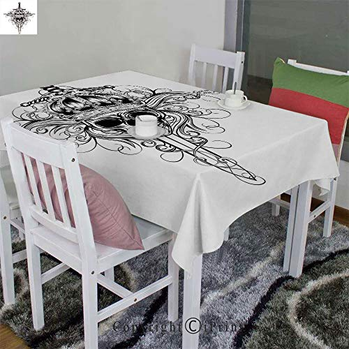 AngelSept 3D Printed Tablecloth Velour Hemp by Skull in Crown and Crossed Swords Patterns King Warrior Historic Illustration(52