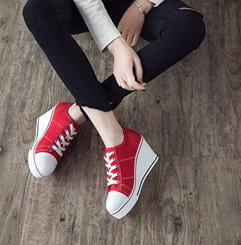 40 Sport 41 43 Chaussures 42 Rouge Shoes Femme Basse Compensé En Toile De Chaussure Sneakers Women Taille Baskets Mode g4A4OR