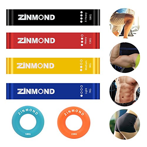 ZINMOND Exercise Bands, Resistance Bands Exercise Loops 4 Set with FREE 2 Set Hand Grip Strengthener, Workout Bands for Home Fitness, Stretching, Physical Therapy, Yoga, Fat Burning and More by ZINMOND