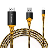 Geameon Compatible with iPhone iPad to HDMI Adapter Cable, 1080P HDMI Adapter Connector Cable, Digital AV Adaptor Cord for iPhone, iPad, iPod to TV Projector Monitor (Orange) (Orange)