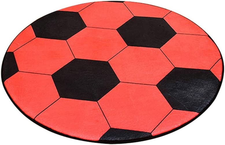 HaHawaii Round Light Floor Rug,Football Basketball Pattern Pad Computer Chair Mat Carpet Rug Home Decor 1# 60cm
