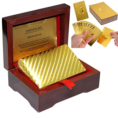 LLF 24K Gold Foil Poker Playing Cards With Mahogany Wooden Box