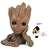 V-Leopard Baby Groot Tree Man Pen Pot Guardians of The Galaxy Action Figures Pencil Holder Or 6'' Flower Pot for Mini Succulents with a Free Ornaments Gift