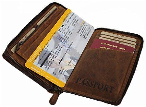 Hill Burry Travel Wallet For Men Women Organizer Purse Bifold ID Card Holder Genuine Leather Handmade Vintage With Coin Pocket Zipper Around Lisbon