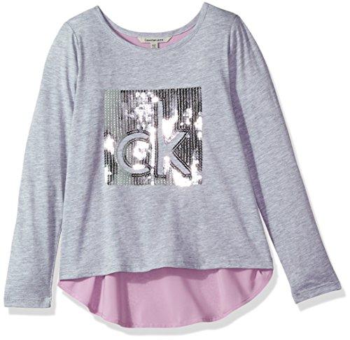 Calvin Klein Big Girls' Glitter Logo Fabric Mix Tee, Light Grey Heather, Large (12/14)