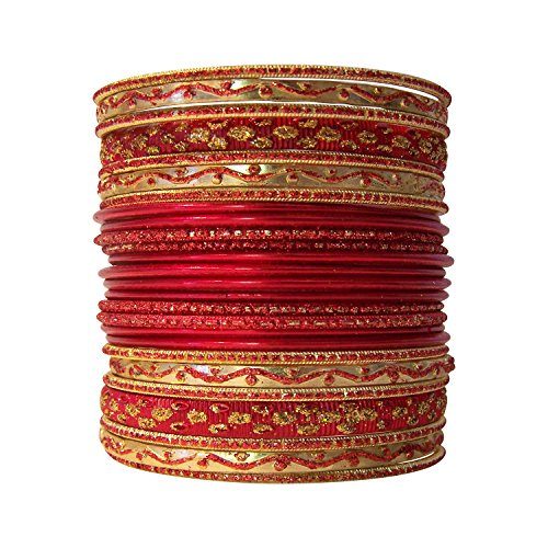 [Set of Red Bangle Bracelets for Women] (Bollywood Costume Party)
