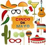 Mexican Fiesta Photo Booth Props - 29 Ct Cinco de Mayo Carnival/Birthday Party Supplies Decorations Ornaments