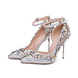 Sequins High Heels With Flower