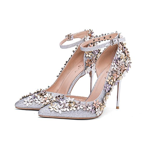 Dress Word Sandals Women Side L Ladies Summer Heels YC Sequins With Of High The With Fine Shoes The Flower Empty White Tip aHAZH7