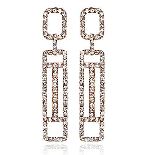 Janefashions Geometric Austrian Crystal Rhinestone Chandelier Dangle Earrings Prom Silver or Black E120 (Rose-Gold-Plated)