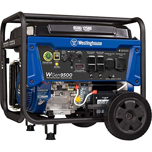 Westinghouse WGen9500 Heavy Duty Portable Generator - 9500 Rated Watts & 12500 Peak Watts - Gas Powered - Electric Start - Transfer Switch & RV Ready - CARB Compliant (Best 10000 Watt Generator)