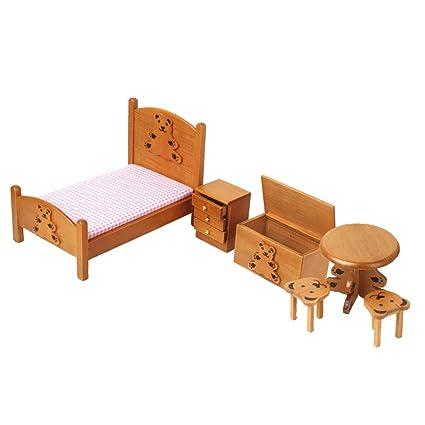 Dollhouse Miniature Furniture Wooden Childrens Bedroom set 1/12