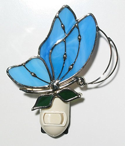 Stain Glass Baby Blue Butterfly Night Light