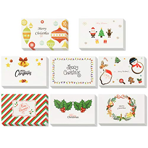 Christmas Greeting Cards 48 Pack - Box Set - Assorted 8 Designs of Merry Christmas Cards with Envelopes 4 x 6 Inches