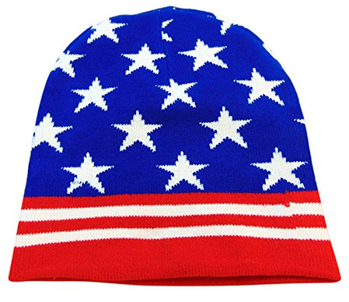 USA Stars and Stripes Classic Beanie American Team Child's Winter Games Hat, One - Classic Beanie Usa Stripe