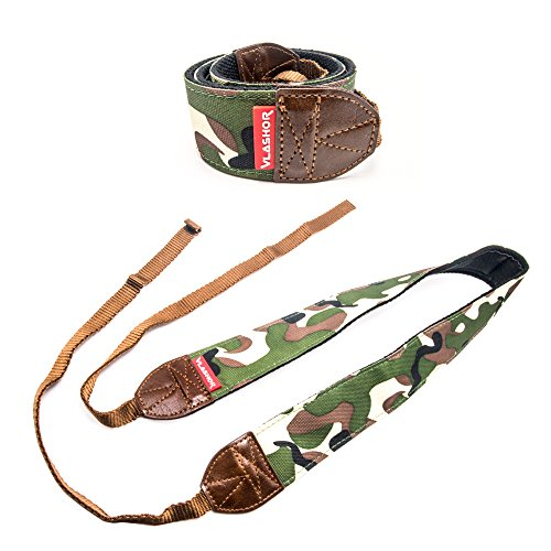 VLASHOR DSLR Camera Strap - Perfect for Digital Cameras - Designed for Comfort and Ease of Use, Great for Anti Theft and Carrying over the Shoulder or Neck - Sniper Green Army Camouflage pattern