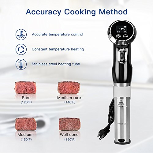 1500W Sous Vide Exactness Cooker Immersion Circulator, Vacuum Food Cooker, LCD Digital Display Cooking Machine, Accurate Temperature Digital Timer,Ultra-Quiet,Stainless Steel Kitchenware by Biolomix (Image #4)
