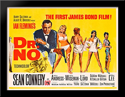 James Bond 007 Dr. No 36x28 Large Black Wood Framed Print Movie Poster Art