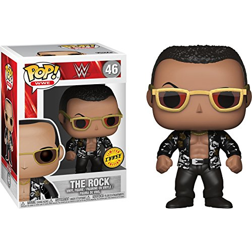 Funko The Rock - Old School (Chase Edition) POP! WWE x WWE Vinyl Figure + 1 Official WWE Trading Card Bundle [#046]