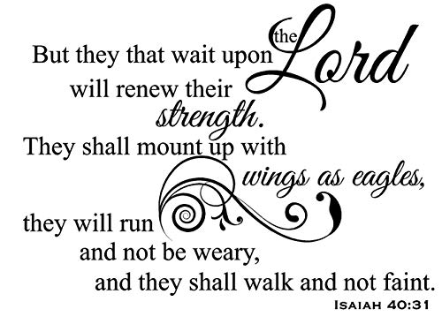 Newclew But They That Wait Upon The Lord Will Renew Their Strength. They Shall Mount up with Wings as Eagles They Will not be Weary - Isaiah 40:31 Removable Wall Sticker Décor Decal (22''W x 16''H) ()