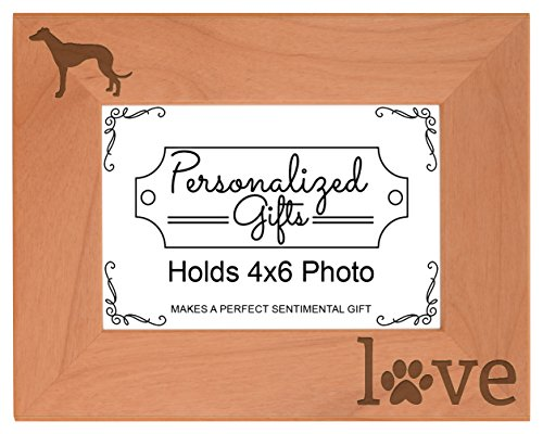 - Greyhound Gifts Pet Paw Prints Dog Owner Love Natural Wood Engraved 4x6 Landscape Picture Frame Wood
