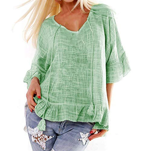 - TUSANG Women Tees Fashion O-Neck Solid Half Sleeve Butterfly Sleeve Loose Top Blouse Slim Fit Comfy Tunic(Green,US-14/CN-3XL)
