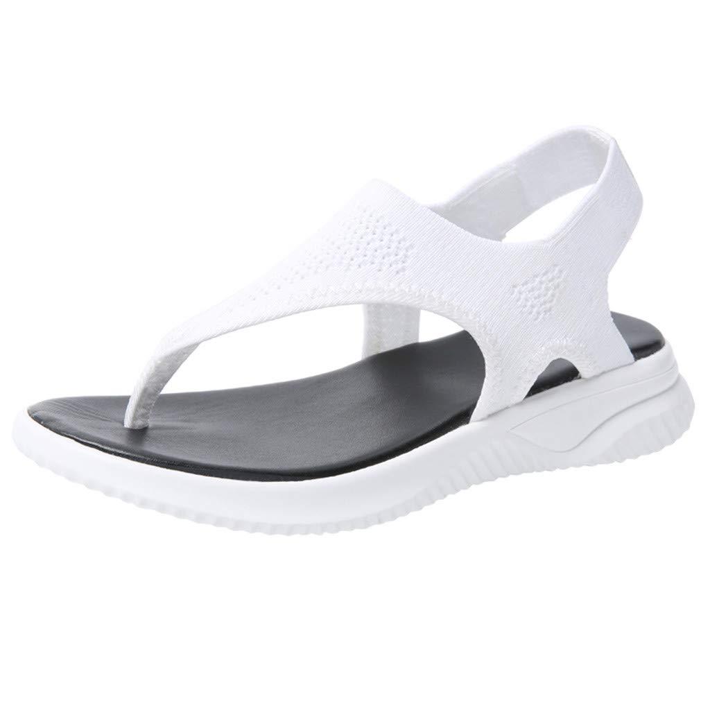 ✔ Hypothesis_X ☎ Women's Casual Lightweight Beach Sandal Platform Thick Roman Casual Flock Sandals Summer Flip Flop Shoes White