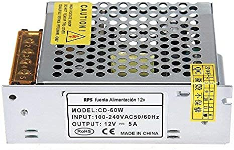 RPS Transformador de Fuente alimentación de Voltage con Interruptor de AC 110V / 220V a 12V para Tira de LED, cámara de Video de vigilancia, Monitor de Seguridad y más DC 5A 60W