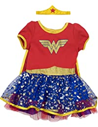 Wonder Woman Girls' Costume Dress with Gold Tiara Headband and Cape, Red