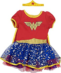Wonder Woman Girls' Costume Dress with Gold Tiara Headband and Cape, Red (6X)