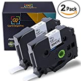 12Mm Label Printer - CartridgePro 2-Pack TZe231 Label Tape 12mm x 8m Black on White Standard Laminated Labels Replacement for Brother P-Touch Label Maker TZe-231, PT-H110, PT-D210, PT-D400AD, PT-D600 (1/2