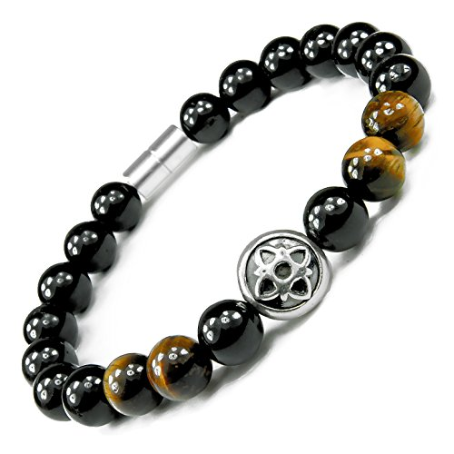 ONE ION Gold Nero Power Bracelet - Tourmaline and Tiger Eye - Permanent Magnets - 3 Sizes (8.25 Inches)