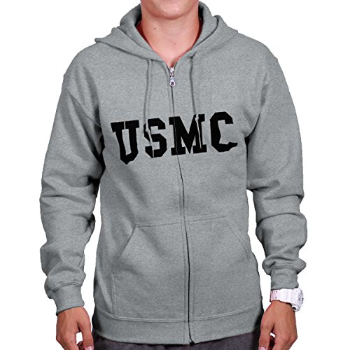 Brisco Brands USMC USA Shirt | Military Gun 2nd Amendment America Zipper Hoodie -