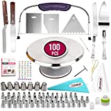 100 Pcs Cake Decorating Kit with Aluminum Metal Turntable-Rotating...