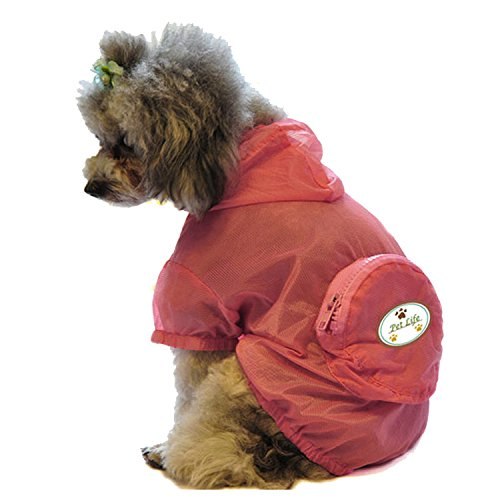 PET LIFE 'Thunder-Paw' Travel Zippered Folding Collapsible Waterproof and Adjustable Travel Fashion Pet Dog Coat Jacket Raincoat w/ Removable Hood, X-Large, Pink
