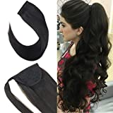 Youngsee 14inch Ponytail Hair Extension Remy Human Hair Color #1B Natural Black Silky
