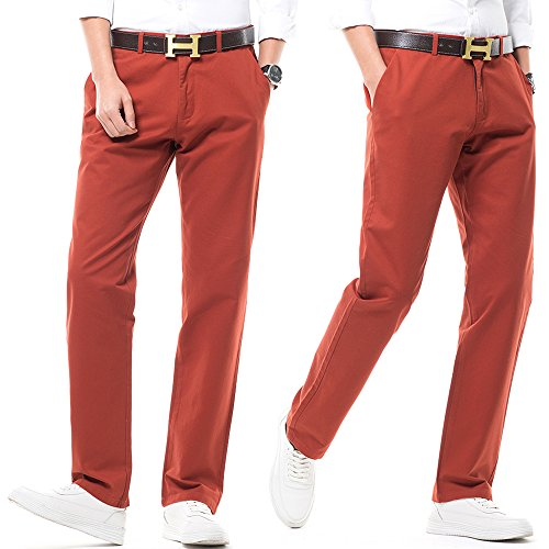 Harrms Hombre Casual Rectas Corte Perneras 16 Estilo de Colores Pantalones Hombre para Bermellón de Recto Elegir con Pantalones Liso rt1wBrqgc