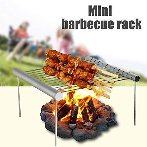 YOEDAF Folding Portable Barbecue Grill Rack Mini Compact Stainless Steel Cooking Accessories Garden Detachable Fire Bowl Backpacking, Backyards,Camping, Hiking