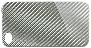 monCarbone SH003LS Sheath Carbon Fiber Back Cover iPhone 4/4S, 1-Pack, Retail Packaging, Silver