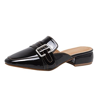 e343ac47821 Kyle Walsh Pa Women Retro Backless Slip On Buckle Square Toe Flat Loafers  Slipper Mule Shoes