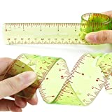 Funny Shatterproof Flexiable Ruler 12 inch (30 cm), Clear inches and Metric Scale, 2 Pack, Green by Larkpad