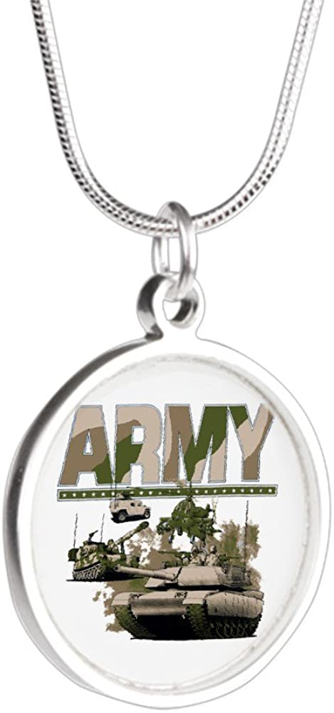 Royal Lion Silver Round Necklace US Army Hummer Soldiers Tanks