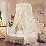 Are There Beds Bigger Than King Size SIOFSVDFDFASDD Round fly screen,Suspended ceiling net Princess floor bed canopy Child's cribb mosquito net Encrypted ceiling netting bedding anti mosquito bites-F Queen2